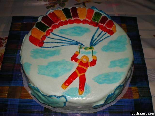 Как нарисовать парашют на торте